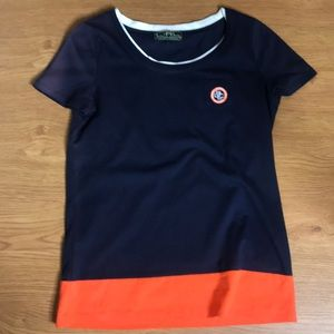 Ralph Lauren Navy Blue and Orange Tee Shirt Small
